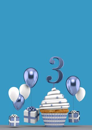 Number 3 blue birthday cupcake with balloons and gifts. 3D Render