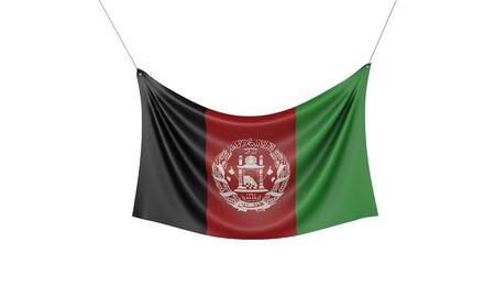 Afghanistan national flag hanging fabric banner. 3D Rendering Stok Fotoğraf