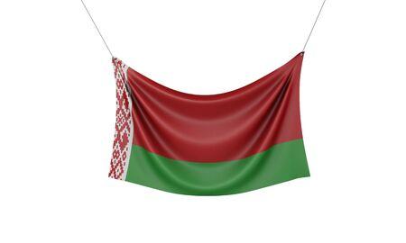 Belarus national flag hanging fabric banner. 3D Rendering Stok Fotoğraf