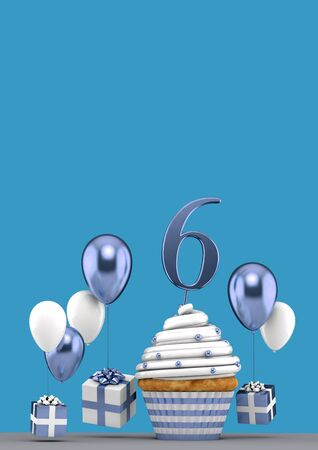 Number 6 blue birthday cupcake with balloons and gifts. 3D Render