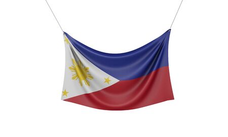 Philippines national flag hanging fabric banner. 3D Rendering Stok Fotoğraf