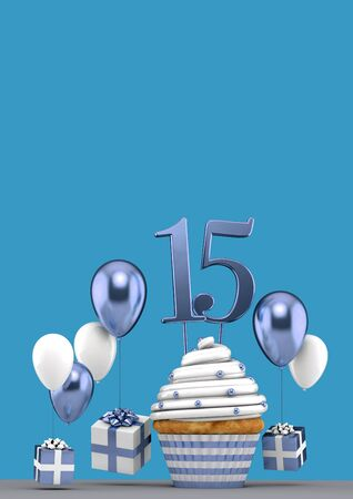 Number 15 blue birthday cupcake with balloons and gifts. 3D Render