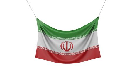 Iran national flag hanging fabric banner. 3D Rendering