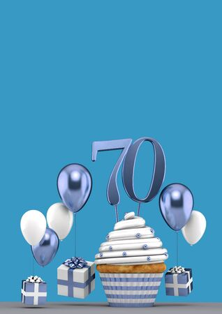 Number 70 blue birthday cupcake with balloons and gifts. 3D Render 写真素材