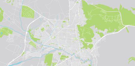 Urban vector city map of Salta, Argentina