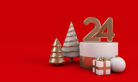 Christmas eve design. 24th of december festive background. 3D Render