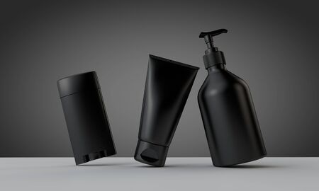 Collection of black male cosmetic grooming products. 3D Rendering