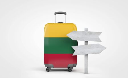 Lithuania flag travel suitcase with wooden guide signpost. 3D Render 版權商用圖片