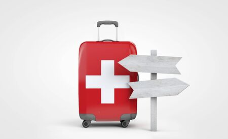 Switzerland flag travel suitcase with wooden guide signpost. 3D Render