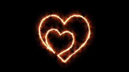 Burning fire love heart on a black background. 3D Render