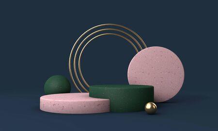 Modern minimal empty podim stage mockup for product presentation. 3D Rendering