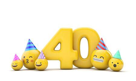 Number 40 emoji birthday party celebration. 3D Render Banco de Imagens