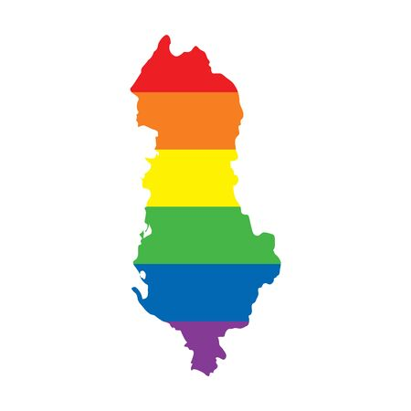 Albania LGBTQ gay pride flag map