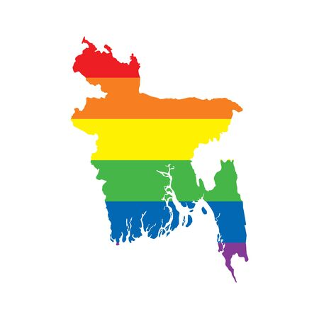 Bangladesh LGBTQ gay pride flag map