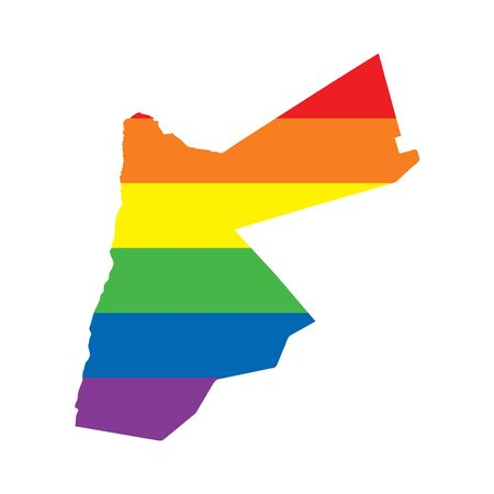 Jordan LGBTQ gay pride flag map Ilustrace