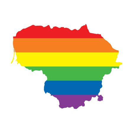 Lithuania LGBTQ gay pride flag map