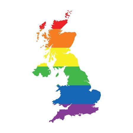 United Kingdom LGBTQ gay pride flag map Ilustrace