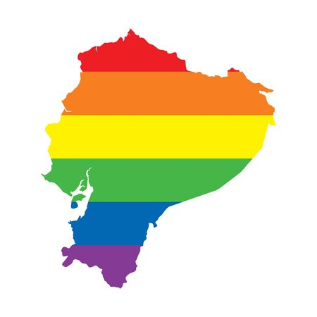 Ecuador LGBTQ gay pride flag map