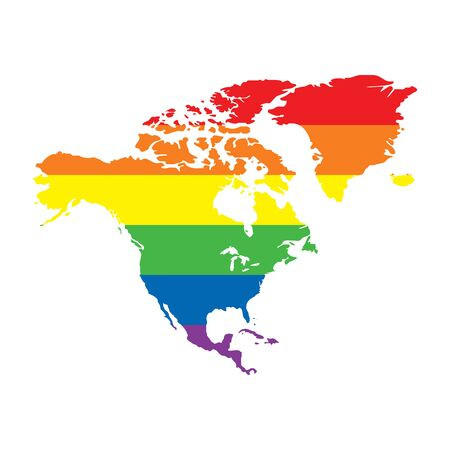 North America LGBTQ gay pride flag map