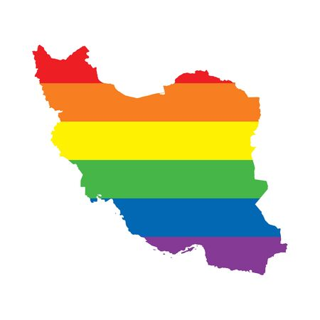 Iran LGBTQ gay pride flag map