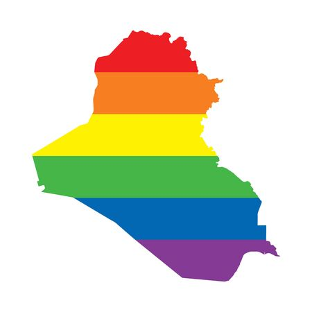 Iraq LGBTQ gay pride flag map