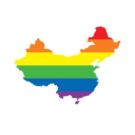 China LGBTQ gay pride flag map