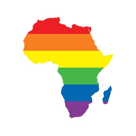 Africa LGBTQ gay pride flag map