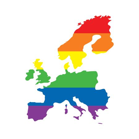 Europe LGBTQ gay pride flag map
