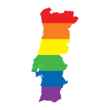 Portugal LGBTQ gay pride flag map Ilustrace