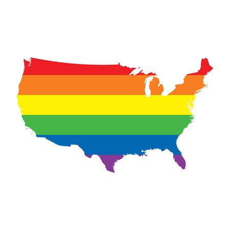 USA LGBTQ gay pride flag map
