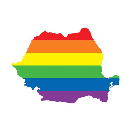 Romania LGBTQ gay pride flag map Ilustrace