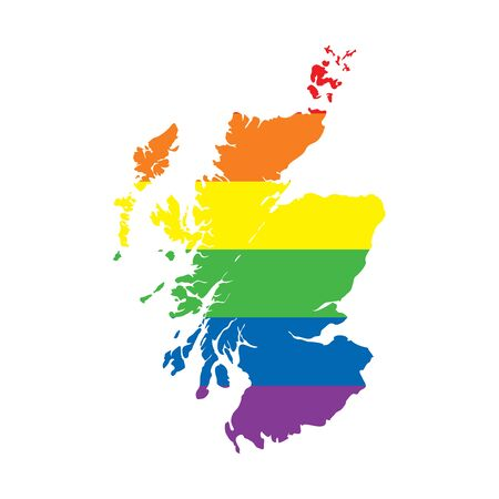 Scotland LGBTQ gay pride flag map