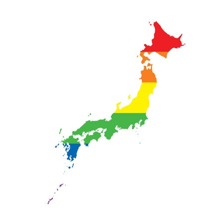 Japan LGBTQ gay pride flag map