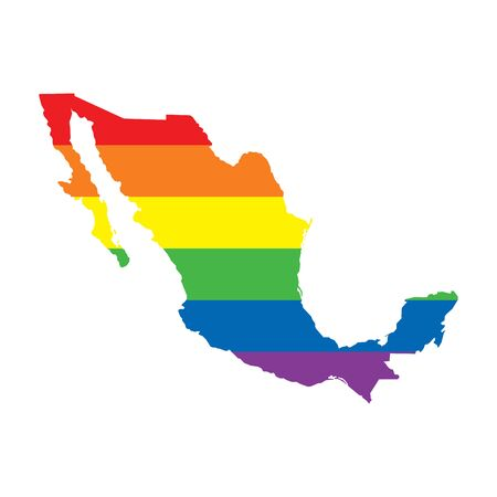 Mexico LGBTQ gay pride flag map