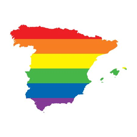 Spain LGBTQ gay pride flag map