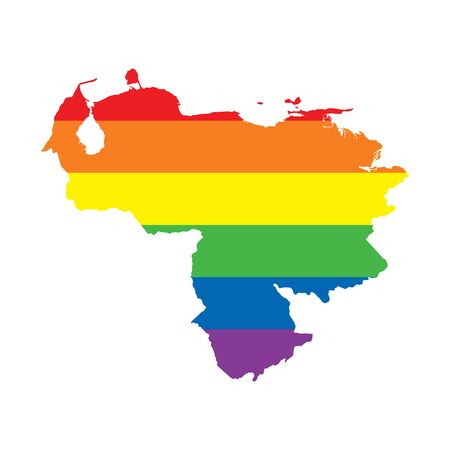 Venezuela LGBTQ gay pride flag map