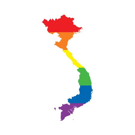 Vietnam LGBTQ gay pride flag map Ilustrace
