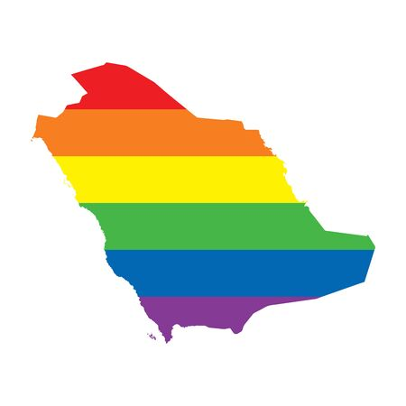 Saudi Arabia LGBTQ gay pride flag map Ilustrace