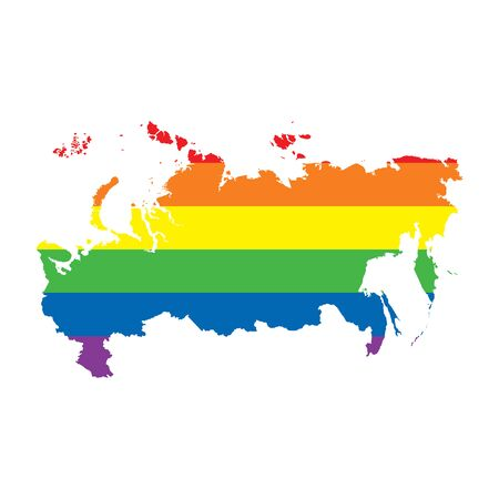 Russia LGBTQ gay pride flag map