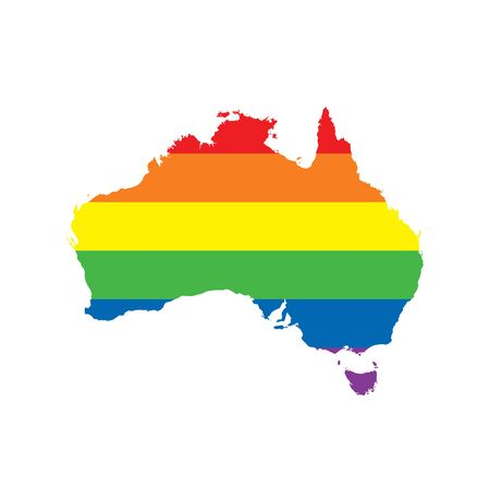 Australia LGBTQ gay pride flag map Ilustrace