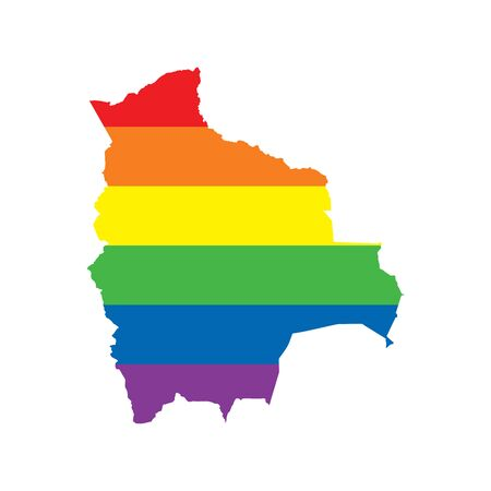 Bolivia LGBTQ gay pride flag map