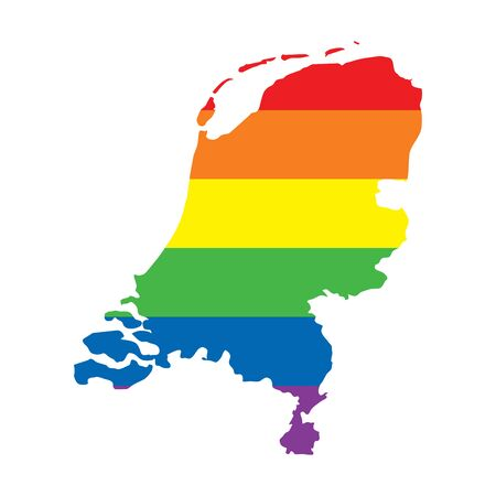 Netherlands LGBTQ gay pride flag map Ilustrace