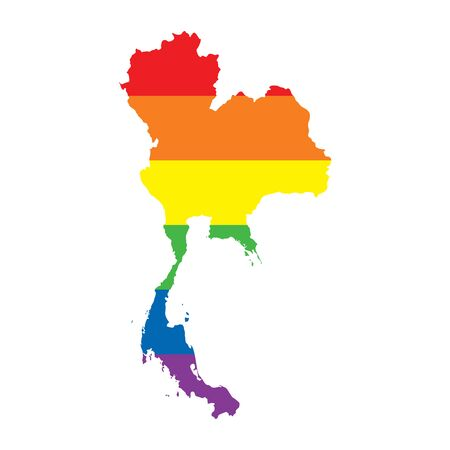 Thailand LGBTQ gay pride flag map