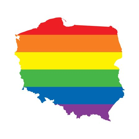 Poland LGBTQ gay pride flag map Ilustrace