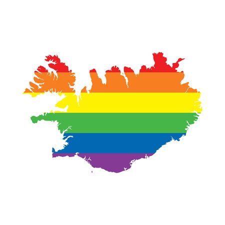 Iceland LGBTQ gay pride flag map