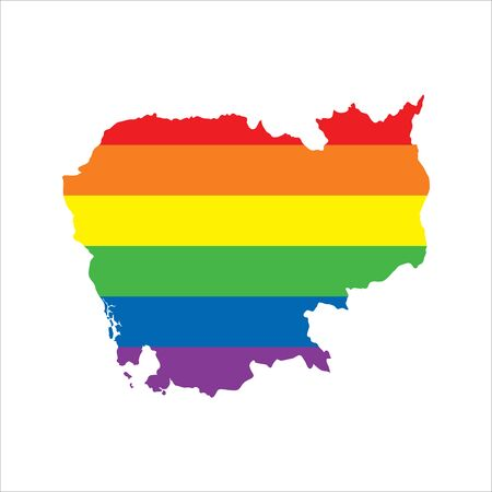 Cambodia LGBTQ gay pride flag map Ilustrace