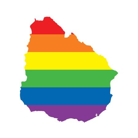 Uruguay LGBTQ gay pride flag map Ilustrace