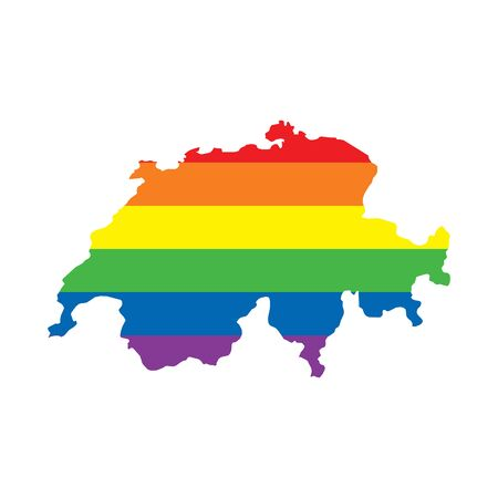 Switzerland LGBTQ gay pride flag map Ilustrace