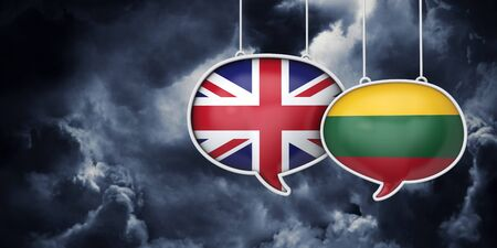 UK and Lithuania brexit negotiation talks. 3D Rendering