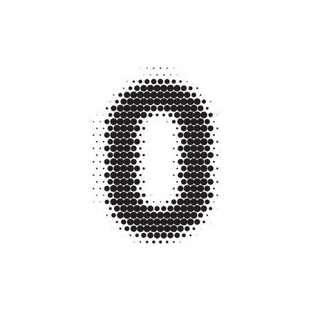 Number black halftone pattern font